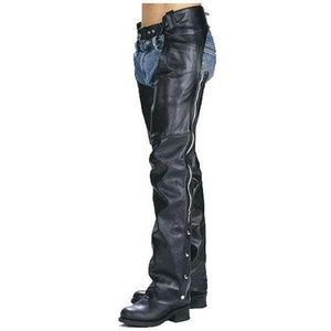 Black leather motorcycle chaps